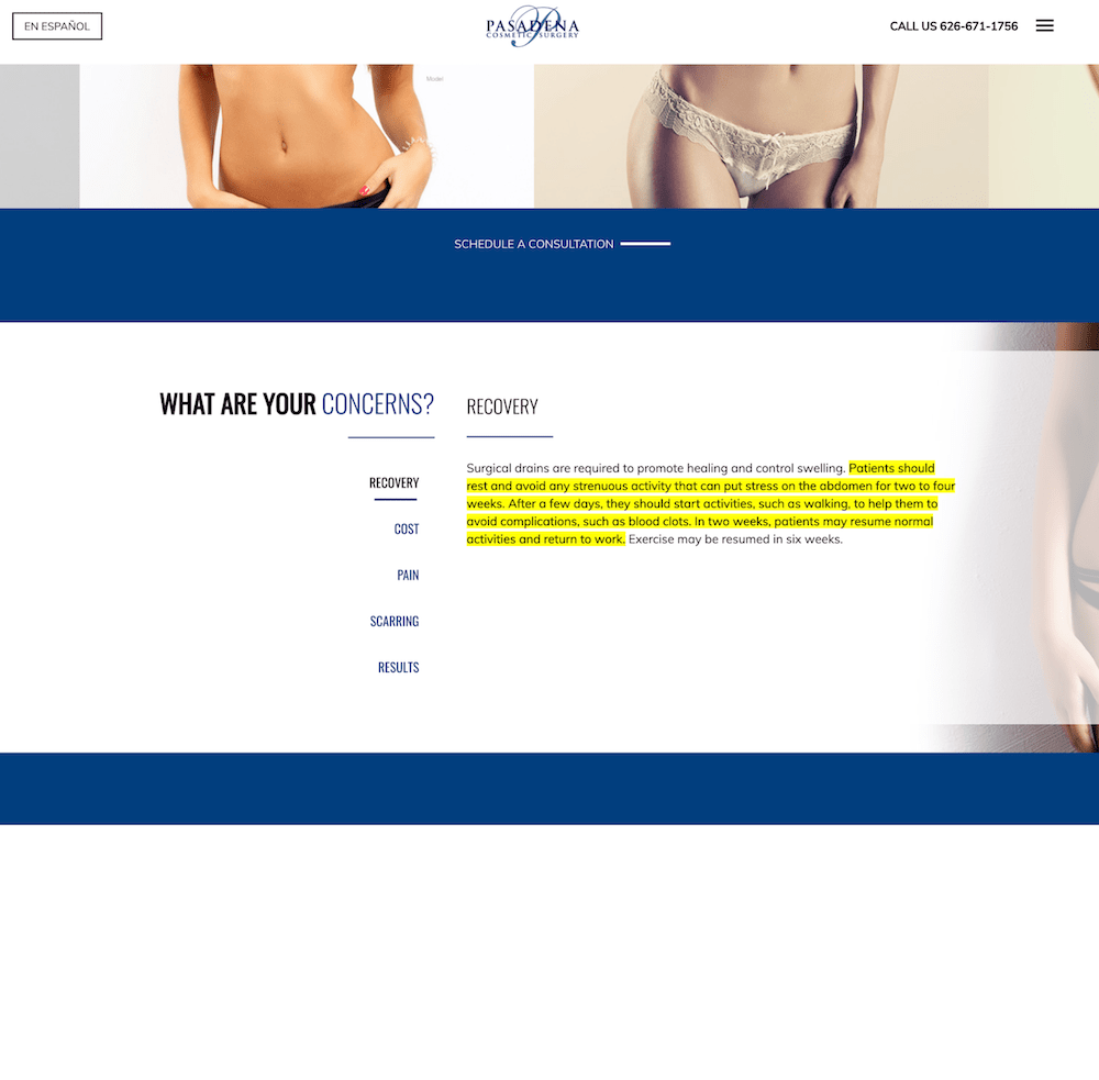 Screenshot of a plastic surgery page showing recovery from tummy tuck information