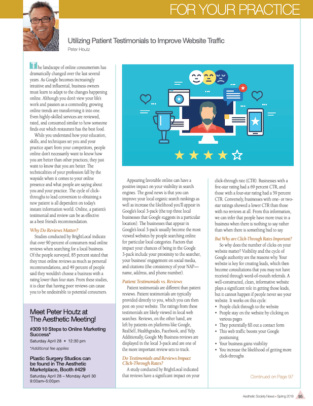ASAPS Newsletter showing how testimonials help drive traffic to your website.