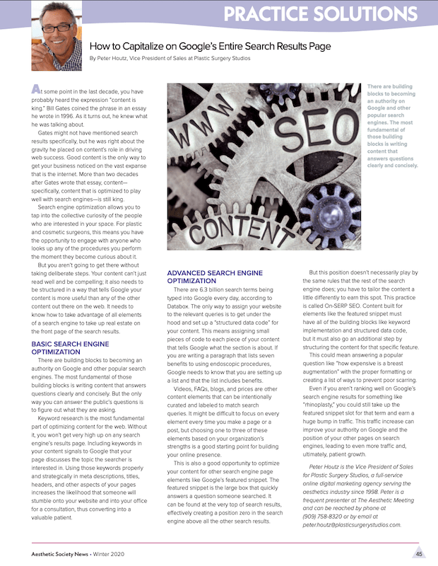 ASAPS article showing how to capitalize on Google's search engine results page.