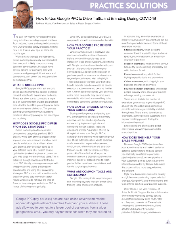 ASAPS Newletter Fall 2020 on how PPC ads can be beneficial during COVID.