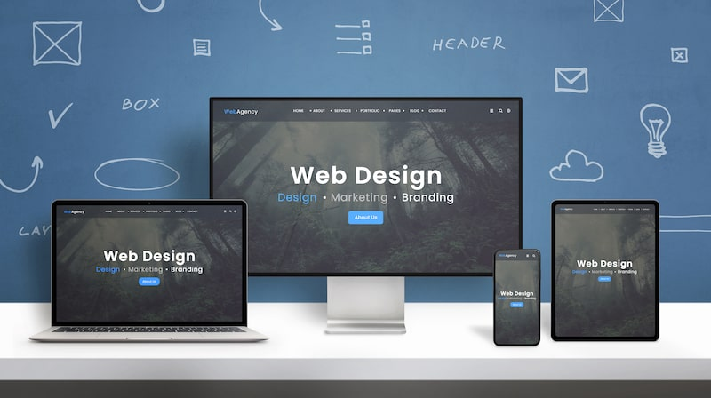 """Collection of devices, including desktop computer, laptop, tablet, and cell phone, with the words """"web design"""" across all screens."""