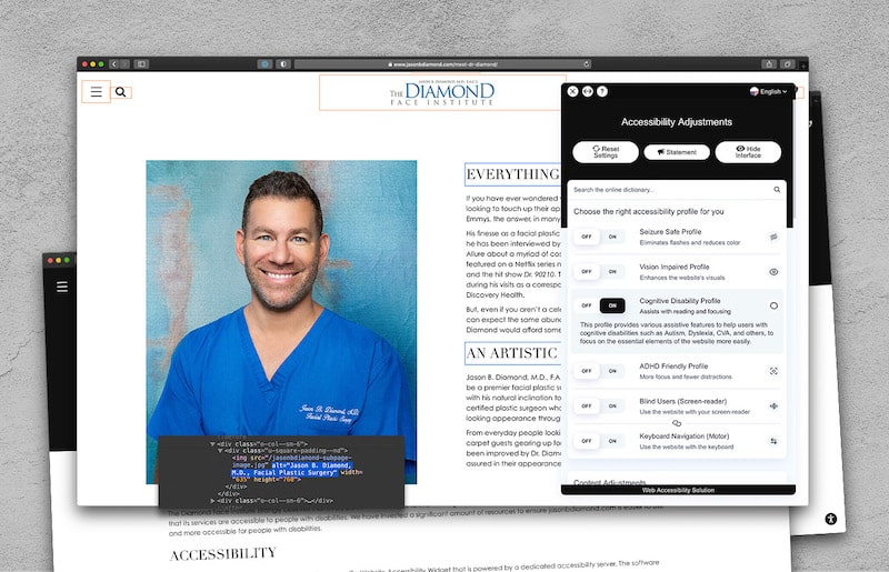 Plastic surgeon's webpage with the accessibility adjustments' taskbar highlighted.