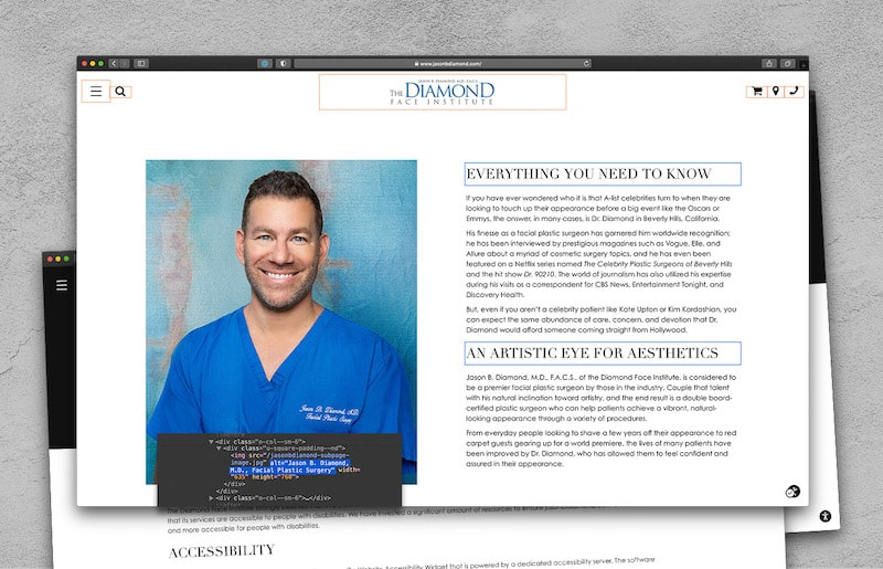 Website page for a plastic surgeon with a portion of the code editor highlighted to demonstrate how the accessibility tool works.