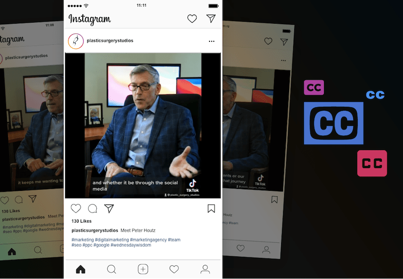 Instagram post that is ADA accessible with closed captioning