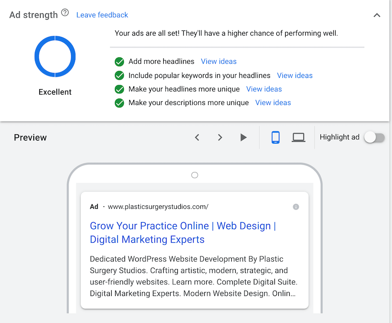 Screenshot showing how to create a responsive search ad